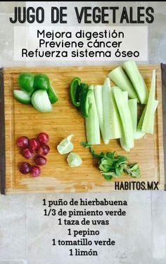 Jugo de Vegetales, Mejora digestión ... Healthy Juice Recipes, Green Smoothie Recipes, Healthy Juices, Juice Smoothie, Healthy Smoothies, Healthy Drinks, Healthy Eating, Detox Juices, Stay Healthy