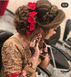 (notitle) wedding engagement hairstyles 2019 - wedding and engagement 2019 Pakistani Bridal Makeup Hairstyles, South Indian Wedding Hairstyles, Bridal Hairstyle Indian Wedding, Bridal Hair Buns, Braided Hairstyles For Wedding, Elegant Hairstyles, Indian Hairstyles, Bride Hairstyles, Headband Hairstyles