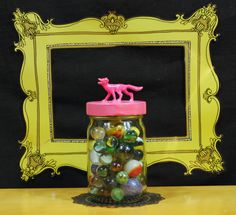 Jar with Pink Fox Lid by TonysDinostore on Etsy