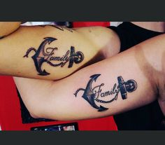 Couple family tattoo ... anchor design .. lovely cousins love it