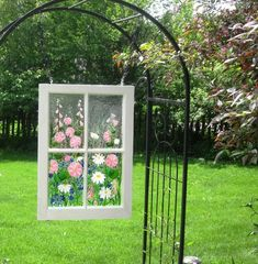 This window is sold, but you can order a custom window: one of a kind fused glass flower garden set in a re-purposed wood sash frame Old Windows Painted, Wood Windows, Big Windows, China Garden, Garden Art, Garden Design, Repurposed Wood, Custom Art, Glass Panels
