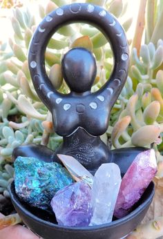 Holiday sale! MOON GODDESS OFFERING Bowl in Black Stone resin by Abby Willowroot ~ Sale + Reduced S/H + Small gift, $46.90