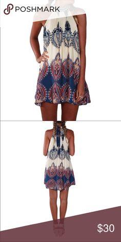 """Mini halter dress S -2-4 Bust 36"""" length 30"""".                                         M 4-6 Bust 37.5"""" length 30.5"""".                                  L 6-8 Bust 39"""". Length 31"""".                                         XL 8-10 Bust 40.5"""" length 31.5"""" Dresses Mini"""