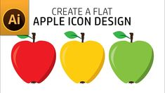 """Hi today, I am going to show you how to """"create a flat apple icon design in illustrator"""". Just watch entire tutorial and try yourself in practice and see the. Fruit Icons, Apple Icon, Adobe Illustrator Tutorials, Apple Fruit, Icon Design, Graphic Design, Video Tutorials, Create, Illustration"""