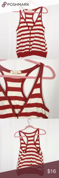 Forever 21 Burnt Orange/White Striped Tank Top Never wore this. New condition.    Cleaning out my wardrobe so take a look in my closet as well for stellar deals!   Let me know if you have any questions.   All sales final  No trades  Offers often accepted  I love to sell bundles and help style! Forever 21 Tops Tank Tops