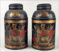 xx..tracy porter..poetic wanderlust...- Beautiful British Tole Tea Canisters