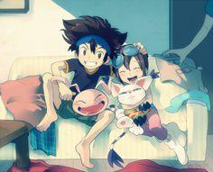 Tai and Kairi having fun with their Koromon and Tailmon.