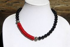 Black Onyx and Red Coral Necklace  Onyx and Coral by irideae, $99.00
