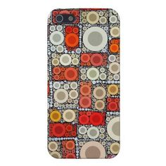 Cool Modern Circle Orange Red Mosaic Tile iPhone 5 Covers