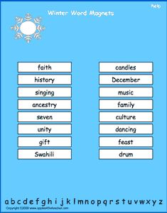 Winter vocabulary words, interactive word magnet game, vocabulary magnet games, arrange the magnets in alphabetical order.