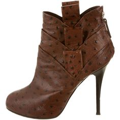 Pre-owned Giuseppe Zanotti Ankle Boots (390 CAD) ❤ liked on Polyvore featuring shoes, boots, ankle booties, brown, pointed toe ankle boots, high heels stilettos, brown leather ankle booties, brown boots and leather boots