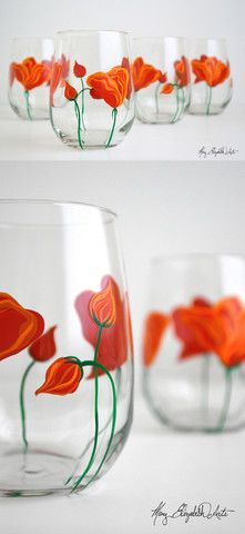 Orange Poppies Stemless Wine Glasses. Available from MaryElizabethArts.com