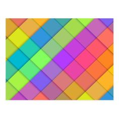 Abstract colourful block design postcard - simple clear clean design style unique diy