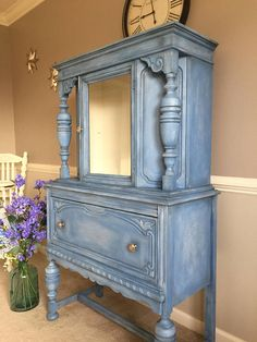 Antique Jacobean Style Vintage Shabby Chic China Cabinet Hutch Dressers Furniture