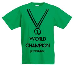 Boys Sports T-Shirt with World Champion In Training Slogan and ...