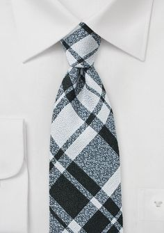 Gray and Black Tartan Plaid Wool Tie - $15
