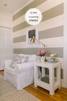 Ten Tips on Painting a Striped Wall |   Read more - http://www.stylemepretty.com/living/2013/08/26/ten-tips-on-painting-a-striped-wall/