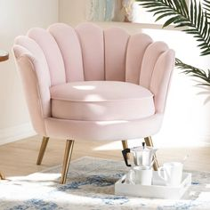 Cutshaw Glam and Luxe Velvet Fabric Upholstered Armchair Upholstery Colour: Light Pink Upholstered Arm Chair, Swivel Chair, Luxury Sofa, Luxury Bedding, Living Room Chairs, Dining Chairs, Club Chairs, Dining Sets, Lounge Chairs