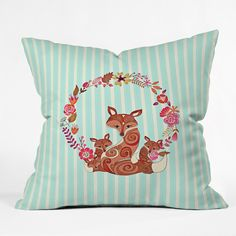 Monika Strigel Fox And Flowers And Blue Stripes Throw Pillow