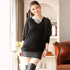 Women's Plus Size Contrast Color Cape Sleeve Blouse – USD $ 23.09