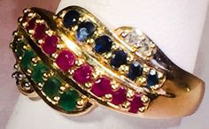 $279  Sapphire, Emerald and Ruby Lady's Ring  14K Yellow Gold 4.7g