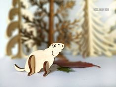 Cute 3D laser cut Otter / Woodland animals / Otter figurine / Otter figure / Otter gifts / Laser cut animals / Forest animals / 3d Otter by DosheEcoDecorCharms on Etsy