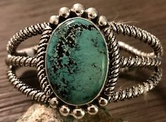 Stunning Native American Sterling RARE Spiderweb Turquoise Cuff Bracelet SIGNED #UNBRANDED