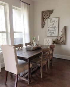 Get the modern farmhouse dining room decor ideas from the table, lighting, chairs, and more. Dining Room Wall Decor, Dining Room Design, Dining Rooms, Entryway Decor, Dining Tables, Dining Room Picture Wall, Dinning Room Curtains, Dining Area, Corner Wall Decor