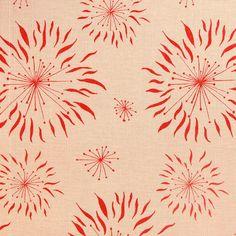 Printed Linen: Dandelion Cream Red