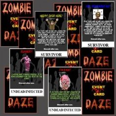 ZOMBIE DAZE Event Cards! Set contains 16 Survivor Event Cards and 16 Undead/Infected cards for a total of 32 cards! With these cards you play random events so no two games are the same! Rules for play are also included.
