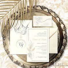 Invitație de nuntă elegantă și exotică, de o finețe deosebită, inspirată de caligrafia franceză din sec. XIX. Încântătoarele păsări ale paradisului ce decorează setul de invitații și accesorii creează o atmosferă luxuriantă unică ce va da tonul întregului eveniment. Veronica, Paradise, Frame, Artist, Vintage, Picture Frame, Artists, Vintage Comics, Frames