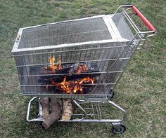 Portable fire pit with built in log storage rack. Make sure to get a chrome cart. Don't use a powder finish ( and don't go stealing a shopping cart as it's illegal )