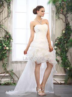 アシンメトリーウェディングドレス ビスチェ オーガンジー アイボリー B14512   税込: ¥31,104