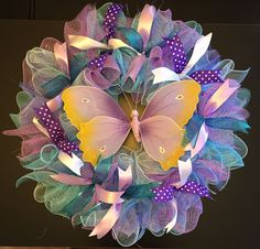 "Spring Wreath, Butterfly Wreath, XL Wreath, 26"" Ruffled Deco Mesh Wreath #Handmade"