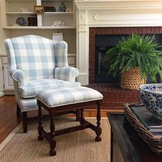 A little dusty blue and white for an updated spring look. I never tire of classic patterns and this is a favorite. My Living Room, Home And Living, Living Room Decor, French Country Living Room, French Cottage, White Fireplace, Home Decor Fabric, Living Room Designs, Family Room