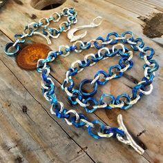 It was fun making this but a lot of work. #tisurvival #titanium #jewelrygram #biker #sterlingsilver #necklace #bracelet