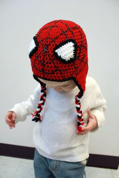 Spiderman Crochet Earflap Beanie Hat - Newborn, Baby, Toddler, Child on Etsy, $30.00