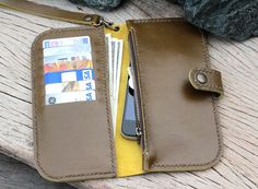 MOlive/Banana Leaf wallet with zip and wristlet by SakatanLeather, $59.00