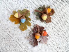 Needle Felted Brooch Acorns Autumn Brooch Wool Felt by WoolPaw
