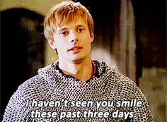 Merlin's smile lights up the room :) gif