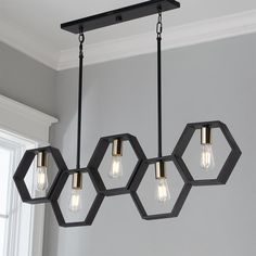 Contemporary Lighting Tips on How to Match Your Contemporary Home Design With Modern Lighting Modern Hexagon Linear Chandelier. Linear Chandelier, Black Chandelier, Chandelier Shades, Pendant Lighting, Linear Lighting, Lighting Ideas, Chandelier Ideas, Pendant Lamps, Outdoor Chandelier