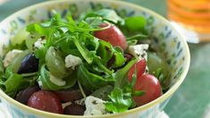 Sweet and juicy Grapes from California are the perfect complement to tangy Feta cheese and briny olives in this Grape Salad with Feta and Olives. California Salad Recipe, Healthy Salads, Healthy Eating, Healthy Food, Vegetarian Recipes, Healthy Recipes, Gourmet Recipes, Cooking Recipes, Arugula Salad Recipes