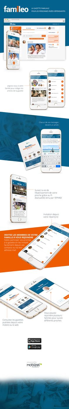 Famileo  Infographie de l'UI de l'application mobile (iOS et Android)