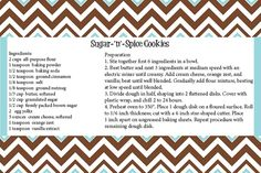 Enjoy your sweet treat from CTP! Sugar and Spice Cookies on a 4x6 printable Chevron recipe card.