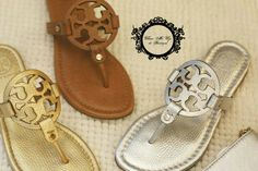 Tory Burch  Thong Miller Tan Silver Gold Sale Rp.2.500.000