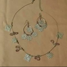 CLOSET CLEAN OUT! Necklace and earring set Lavender on matte silver, 16-19 inches. Jewelry Necklaces