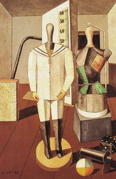 Title: Madre e figlio (1917) Artist: Carlo Carra. Nationality: Italian.