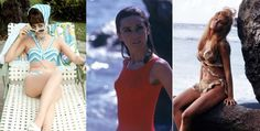 Swimsuits of the featuring Natalie Wood, Audrey Hepburn and Raquel Welch Swimsuits, Bikinis, Swimwear, Raquel Welch, Brigitte Bardot, Audrey Hepburn, Pin Up, Swimming, History