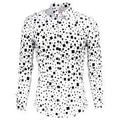 Brand Luxury Men Shirts Slim Fit Stylish Men Clothing Black White Men Casual Long Sleeve Dress Shirts Plus Size M-XXXL