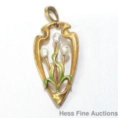 Superb Antique Art Nouveau Enamel Pearl Vintage Flower Pendant 14K Gold  #Pendant